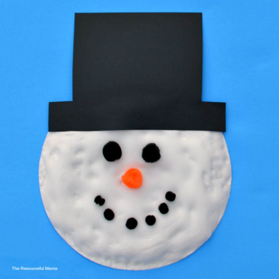 Kid love the fluffy texture diy puffy paint gives this paper plate snowman kid craft.