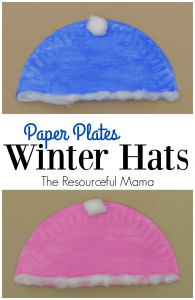Paper plates winter hats kid craft