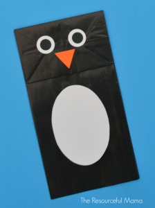 Paper bag penguin craft for kids.