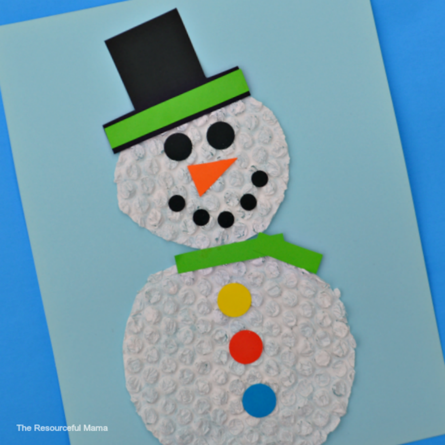 Craft: Bubble Wrap Snowman Craft