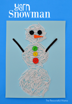 Kids will have fun and get lot of scissor practice as they transform yarn into a snowman craft.
