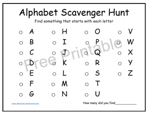 Alphabet scavenger hunt for kids works great indoor or outdoors aids kindergartners in learning sounds and poses a challenge to all kids