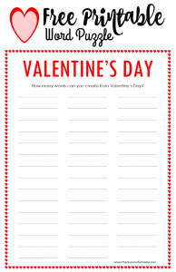 photograph about Valentines Puzzles Printable titled Valentines Working day Phrase Puzzle - The Inventive Mama
