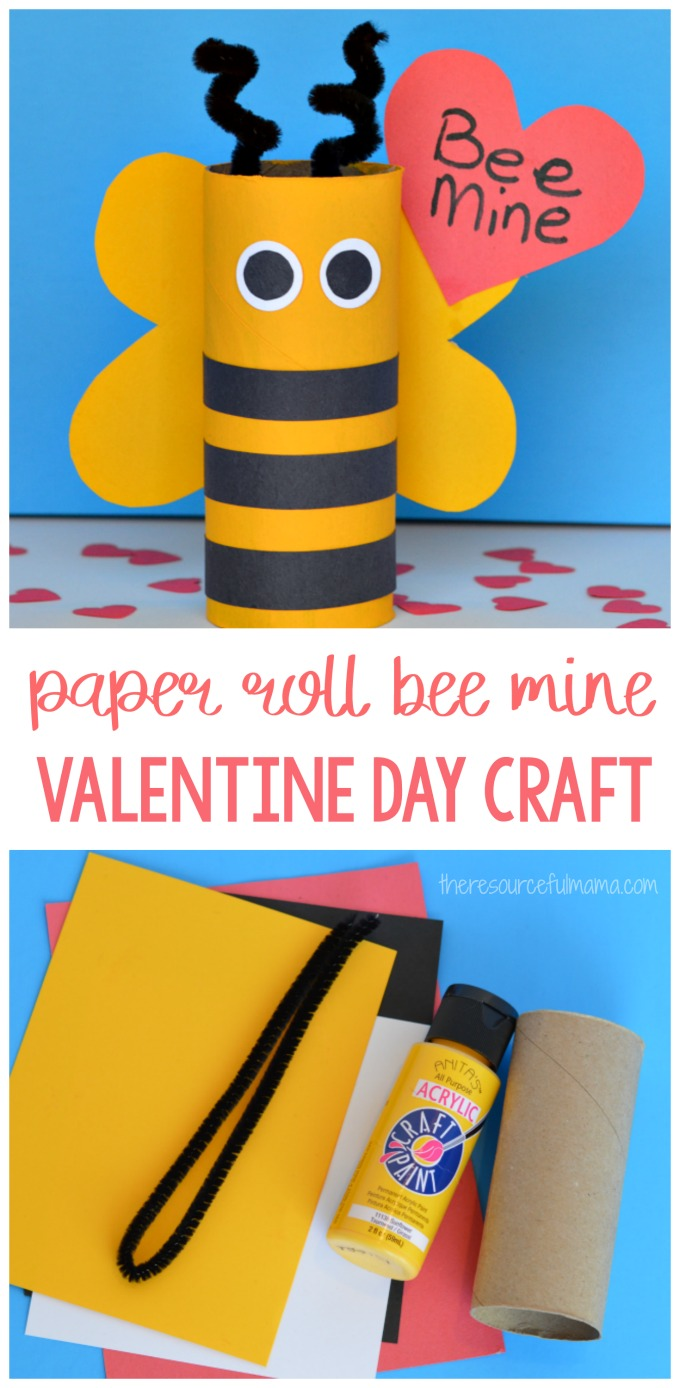 Turn your recycled paper rolls into a cute bee mine valentine day craft.