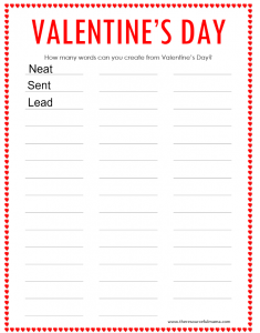 Free printable Valentine's Day word puzzle; perfect for school parties