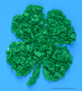 Crepe paper St. Patrick's Day Shamrock craft for kids-free shamrock template