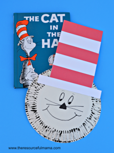 Dr. Seuss's The Cat in the Hat craft project for kids using paper plates and fork painting.