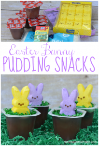 These bunny pudding Easter snacks are super fun, inexpensive, and super easy to make. Kids will love this Easter treat.