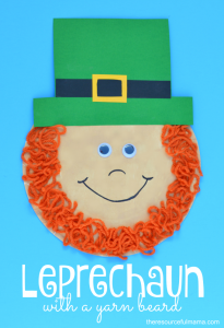 Paper plate leprechaun kid craft with yarn beard for St. Patrick's Day
