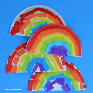 Tissue paper and paper plate rainbow kid craft perfect for St. Patrick's Day or spring and summer.