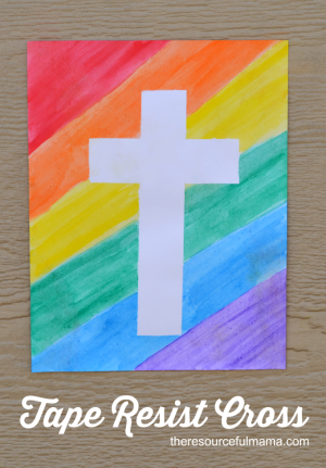 Tape Resist Easter Cross Craft The Resourceful Mama