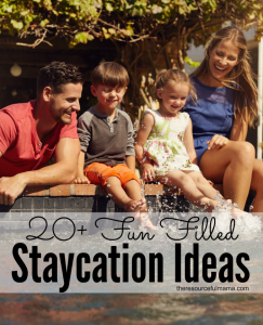 Great list of staycation ideas for families. Fun things to do during summer and spring break.