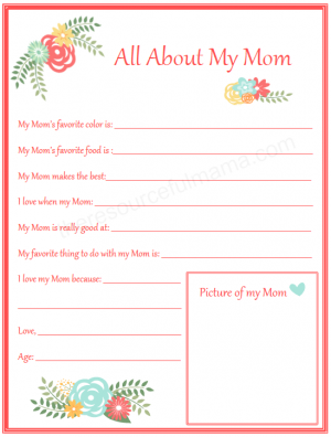 All About My Mom Mother's Day Printable for Kids
