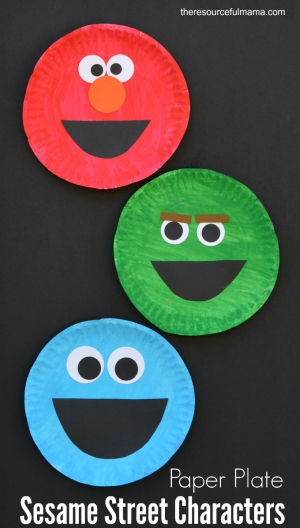 Paper plate sesame street craft the resourceful mama for Elmo arts and crafts