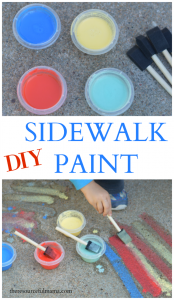 Turn leftover/broken pieces of chalk into sidewalk chalk paint for kids. summer| kids activities | spring | preschool | outdoor activity