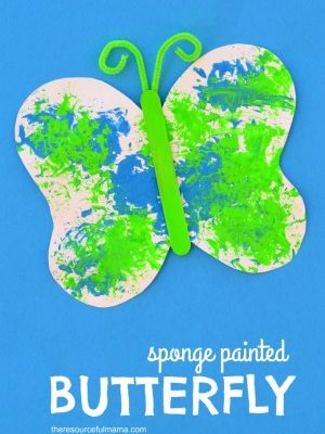 Sponge Painted Butterfly Craft for Kids