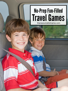 "No-prep Fun-Filled Travel Games to help save your sanity while traveling and reduce the ""are we there yet"" questions."