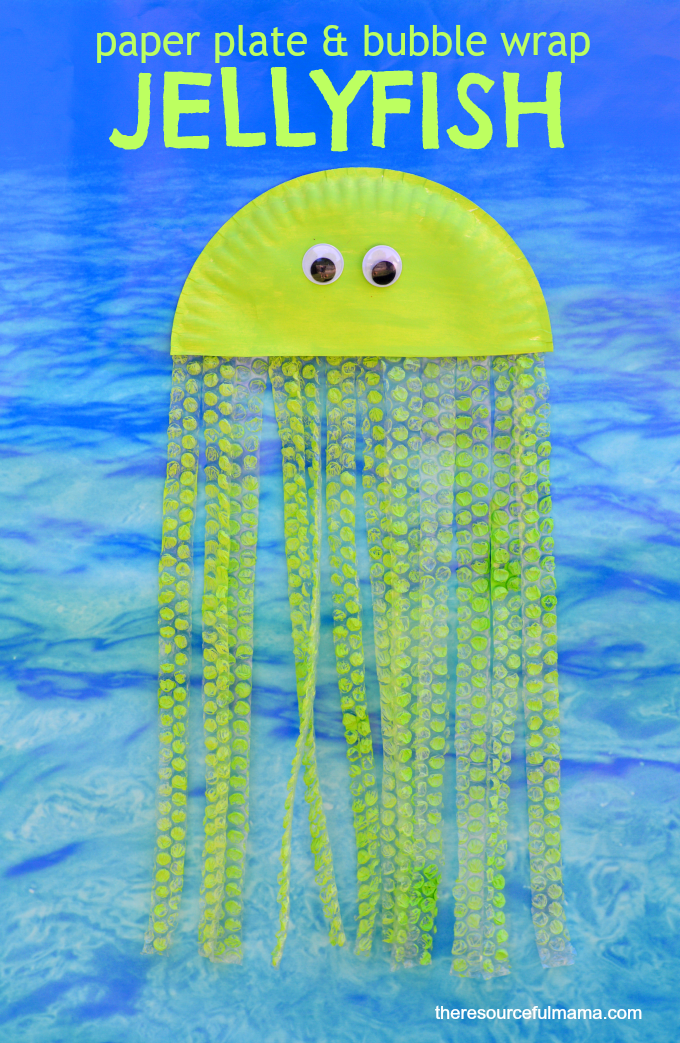 Paper plate and bubble wrap jellyfish kid craft thatu0027s great for ocean or summer themed crafts  sc 1 st  The Resourceful Mama & Bubble Wrap u0026 Paper Plate Jellyfish Craft - The Resourceful Mama