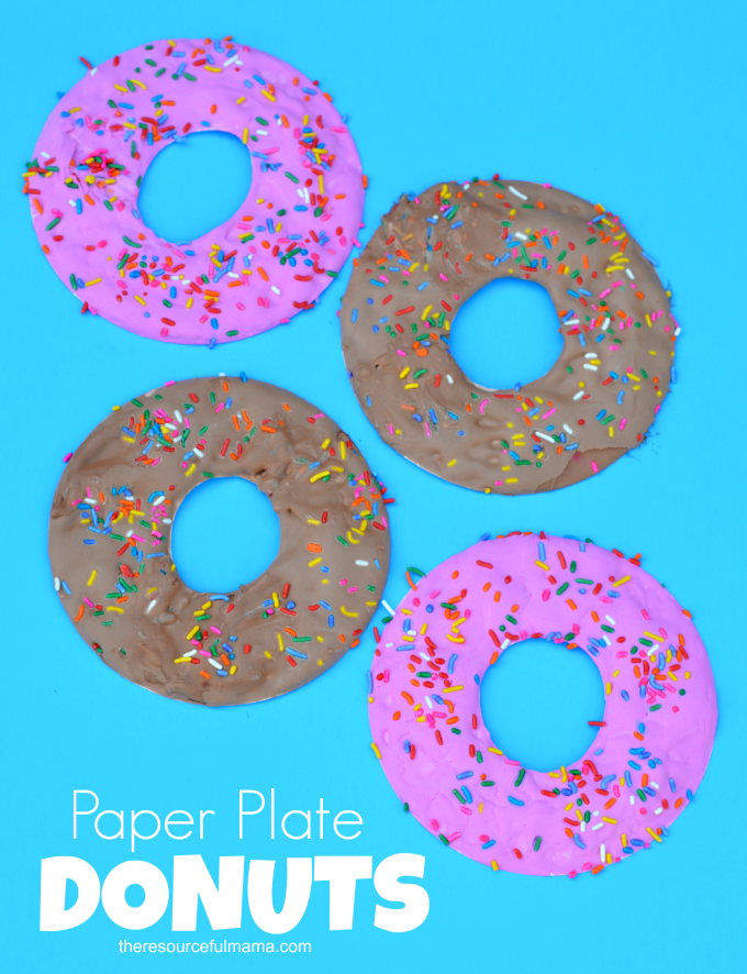 Puffy paint and paper plate Doughnut Craft for Kids National Doughnut Day| preschool| kids craft|donuts