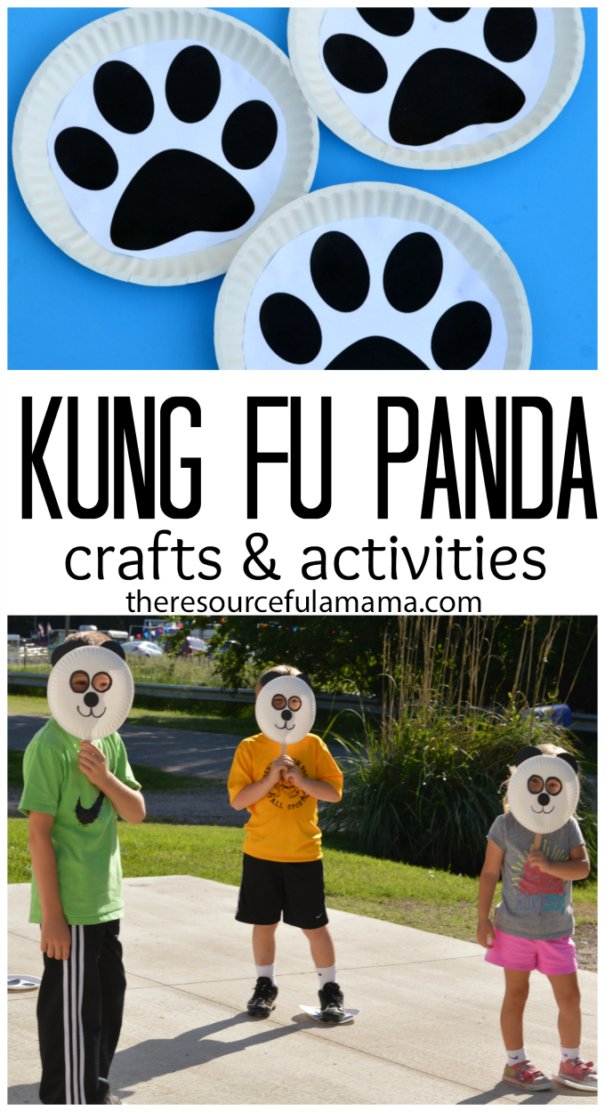 We love doing family nights in the summer. Before we get started with the movie we love to do a movie themed craft and activity. We made panda masks and used paw prints to play a couple of games before watching Kung Fu Pandas 3