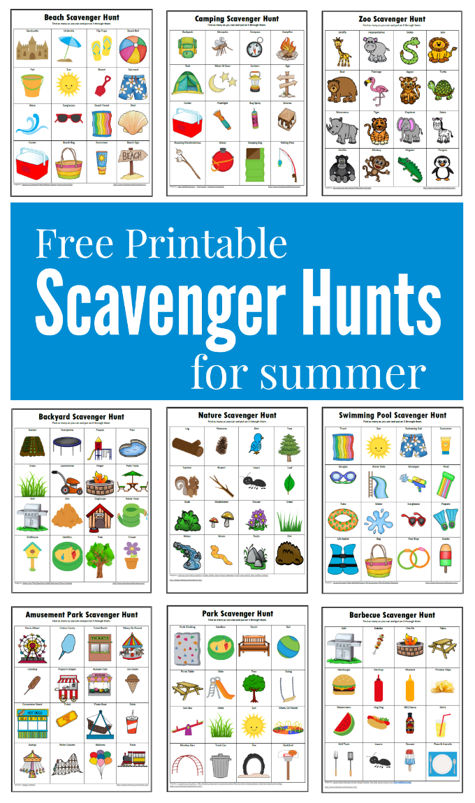 photograph relating to Printable Scavenger Hunt named Summer time Scavenger Hunts Absolutely free Printables - The Inventive Mama