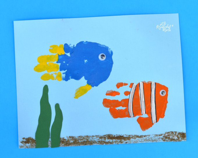 Finding dory handprint craft for Finding dory crafts for preschoolers