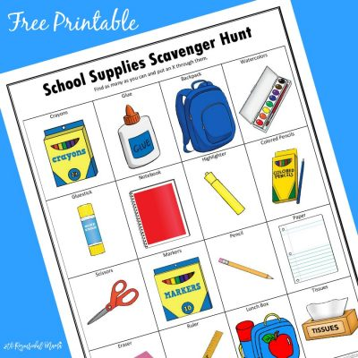 School Supplies Scavenger Hunt