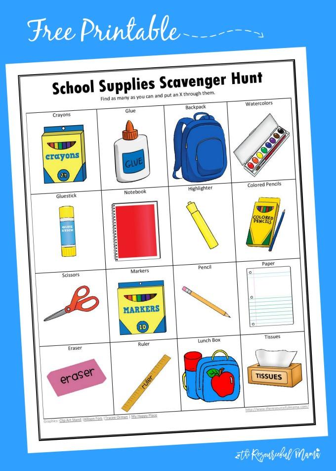 Scavenger Hunt List >> School Supplies Scavenger Hunt - The Resourceful Mama