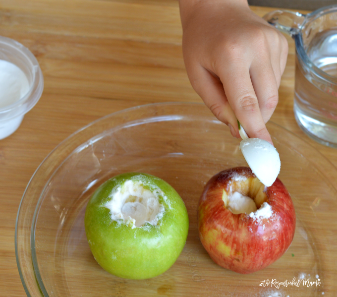 Apple Volcanoes Science Experiment - The Resourceful Mama