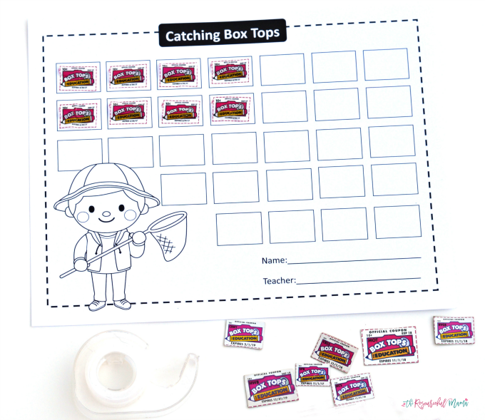 Make an easy DIY collection container for box tops and print these free printable collection forms. Earn double box tops for your school while shopping back to school.