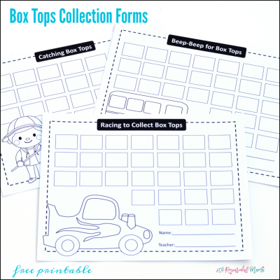 Box Tops Collection {Free Printable Forms}