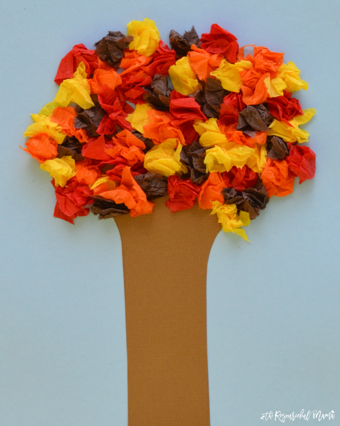 autumn craft ideas kids crepe paper fall tree craft the resourceful 3396