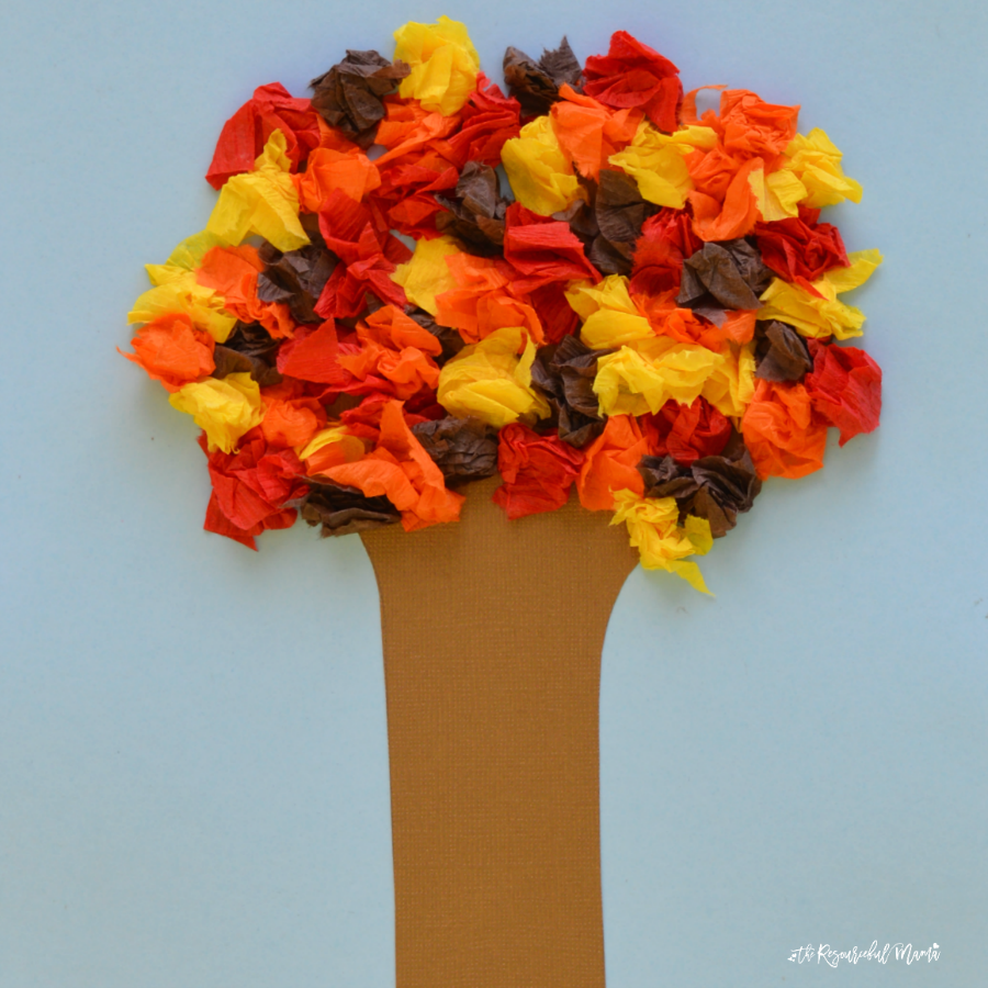 Crepe Paper Fall Tree Craft - The Resourceful Mama
