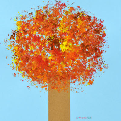 Bubble Wrap Painted Fall Tree Kid Craft