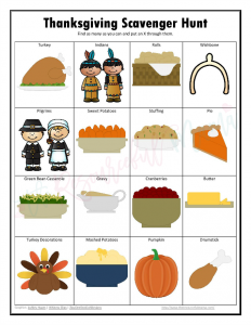 Free printable Thanksgiving scavenger hunt. Great way to keep kids entertained on Thanksgiving day.
