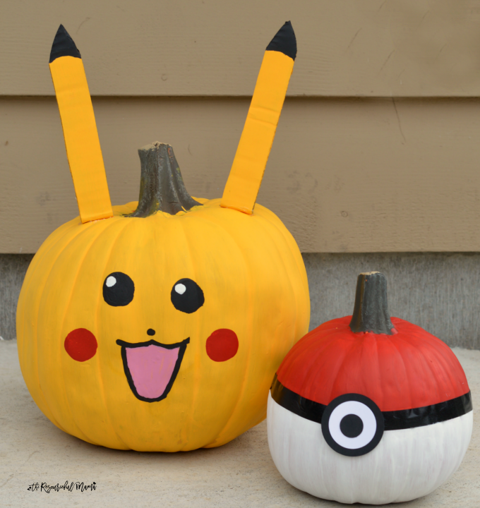 No-carve Poke Ball and Pikachu Pokemon Pumpkins for Halloween.