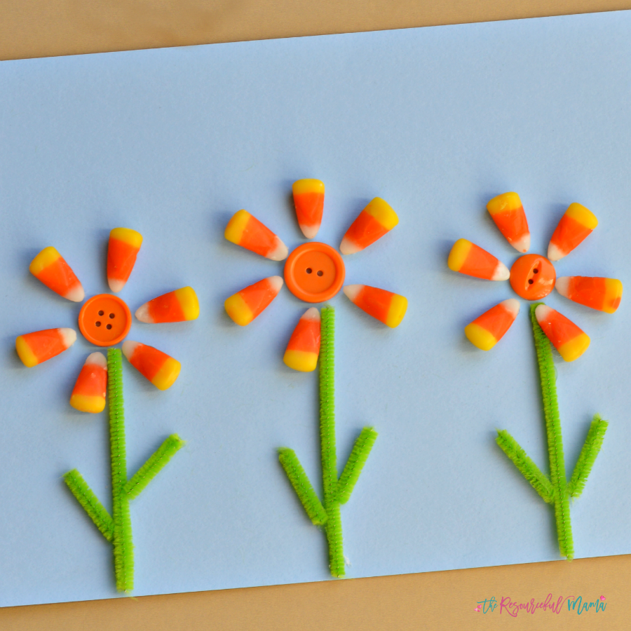 Transform leftover candy corn into a flower craft. fall | Halloween | kids craft