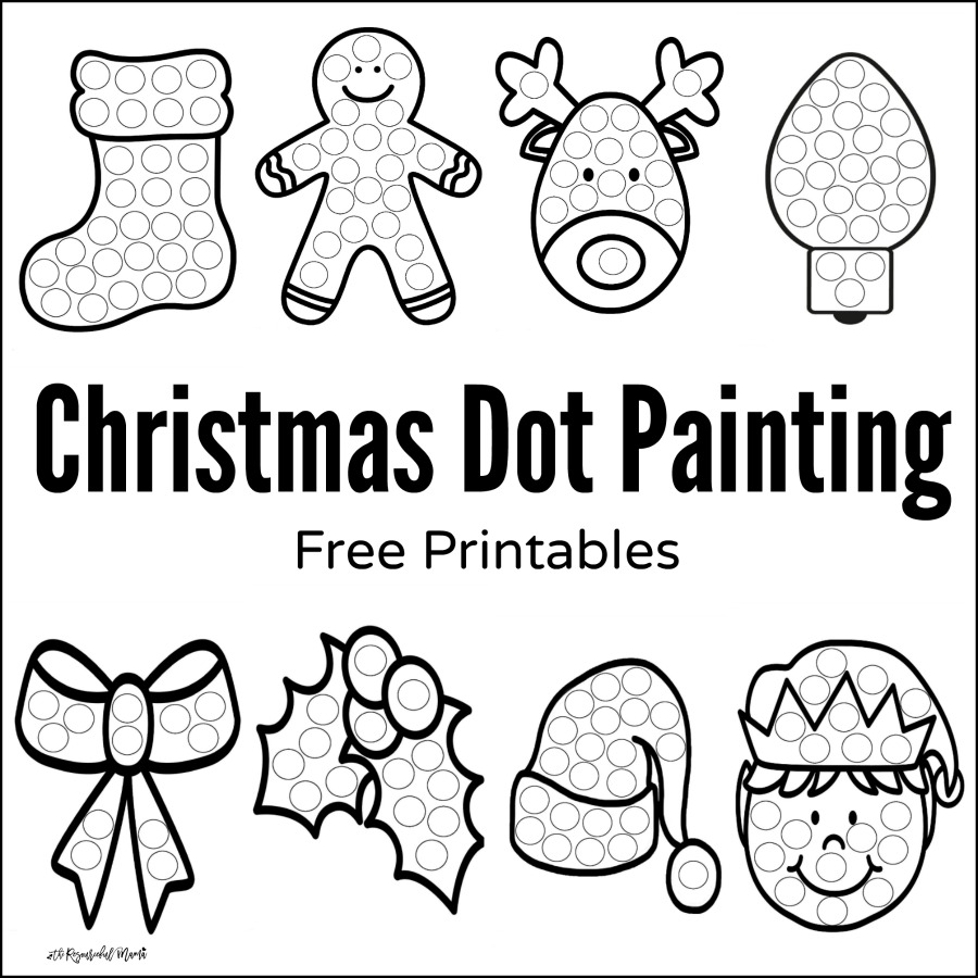 free printable christmas dot painting worksheets for kids these work great with do a dot - Kids Painting Pictures Printable