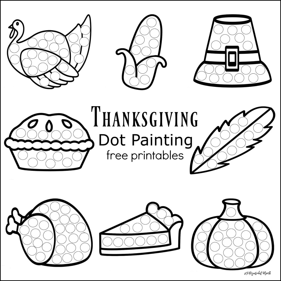 these thanksgiving dot painting worksheets are a fun mess free painting activity for young kids that - Kids Painting Pictures Printable