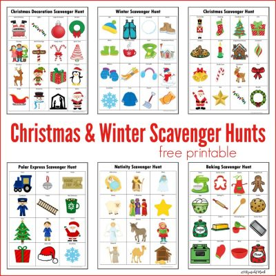 Winter & Christmas Scavenger Hunts {Free Printables}