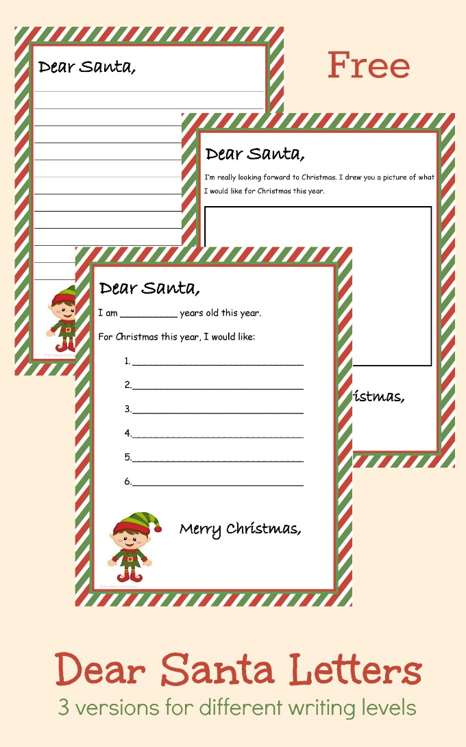 Free printable dear santa letter 3 different versions carry on the timeless tradition of writing santa a letter with your children using one of spiritdancerdesigns