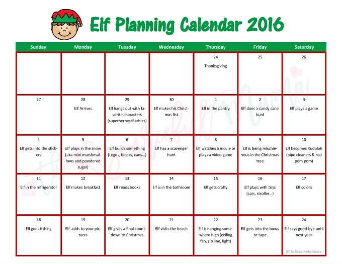 Free printable Elf on the Shelf planning calendar with every planned out with lots of fun and mischevious ideas