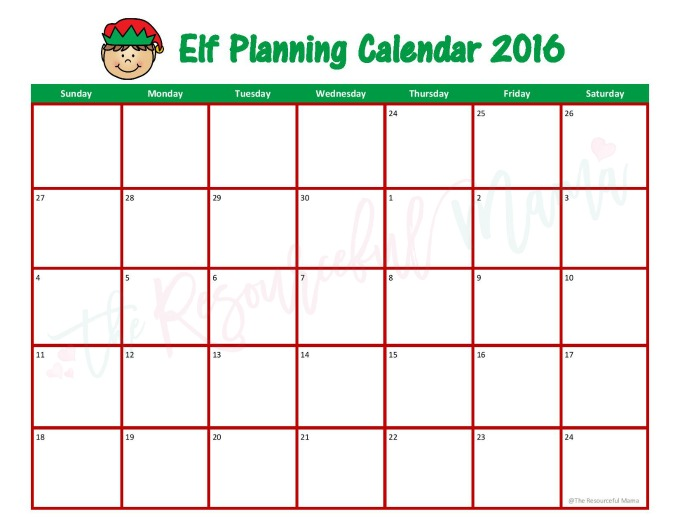 Free printable Elf on the Shelf planning calendar with lots of fun ideas for your elf.