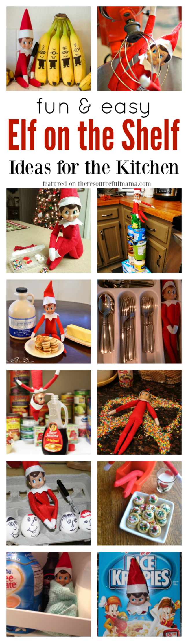 These fun and easy Elf on the Shelf ideas for your kitchen will get you started on planning some fun and mischief for your Elf this Christmas holiday.