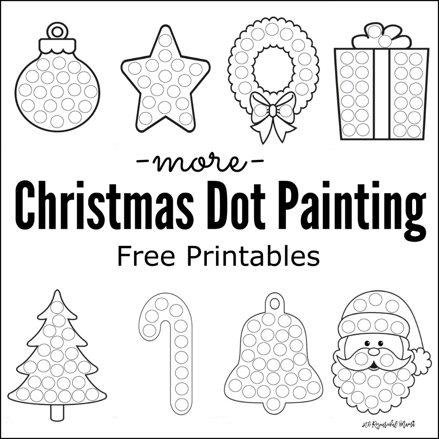 free printable christmas dot painting worksheets for kids these work great with do a dot - Printable Coloring Christmas Pictures