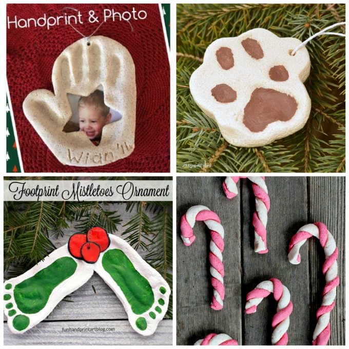 Adorable homemade salt dough ornaments for Christmas. handprint ornament | footprint ornaments | santa ornaments | reindeer ornament | Olaf ornament | Minion ornament | Teen Mutant Ninja Turtle Ornament | fingerprint ornament | kid ornaments