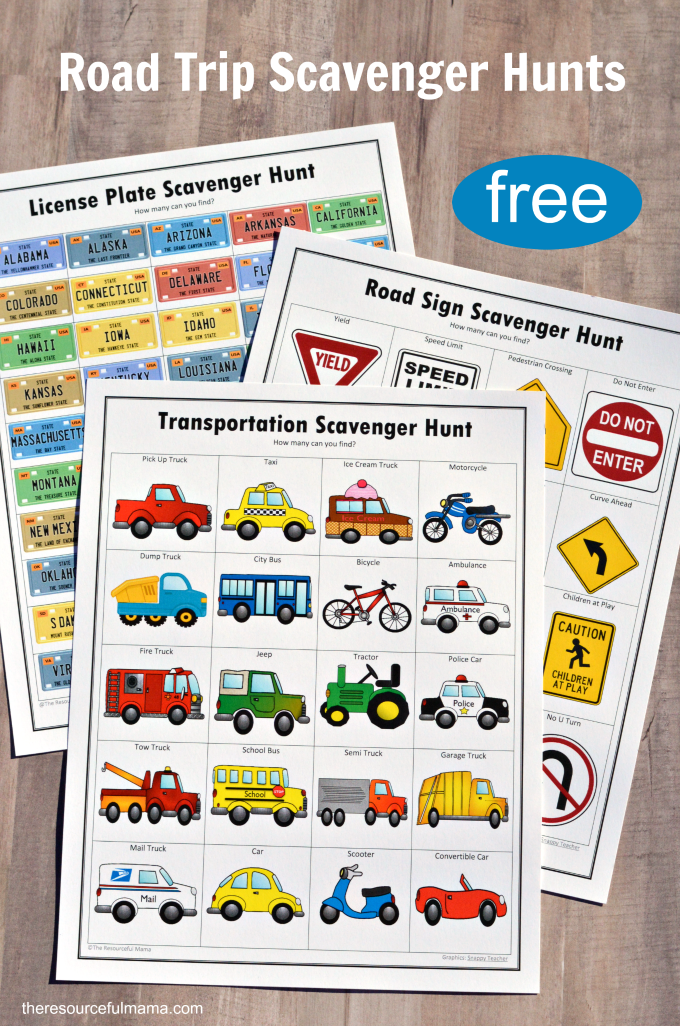 Free printable road trip scavenger hunts for kids includes a road sign scavenger hunt, license plate scavenger hunt, and transportation scavenger hunt.