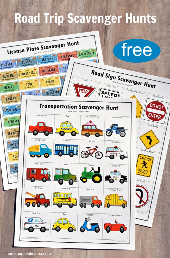 Free printable road trip scavenger hunts for kids includes a road sign scavenger hunt, license plate scavenger hunt, and transportation scavenger hunt.