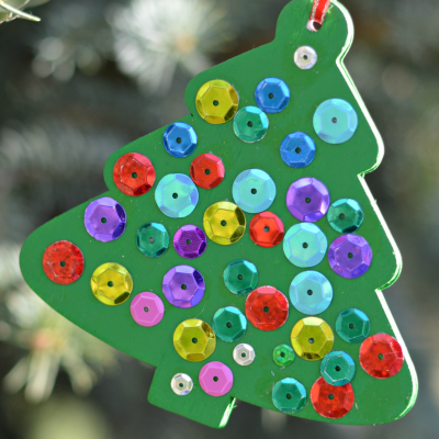 Kid Made Sequin Tree Christmas Ornament