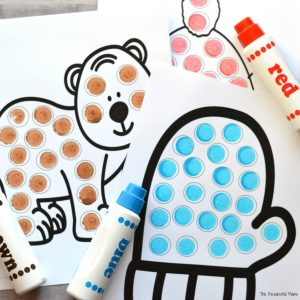 Using do a dot markers on free printable winter dot painting worksheets. 10 worksheets in all.